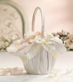 SF satin ruffled flower basket ivory