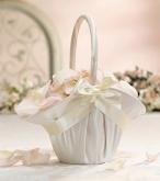 SF satin ruffled flower basket ivory