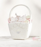 SF ivory satin & lace flower basket