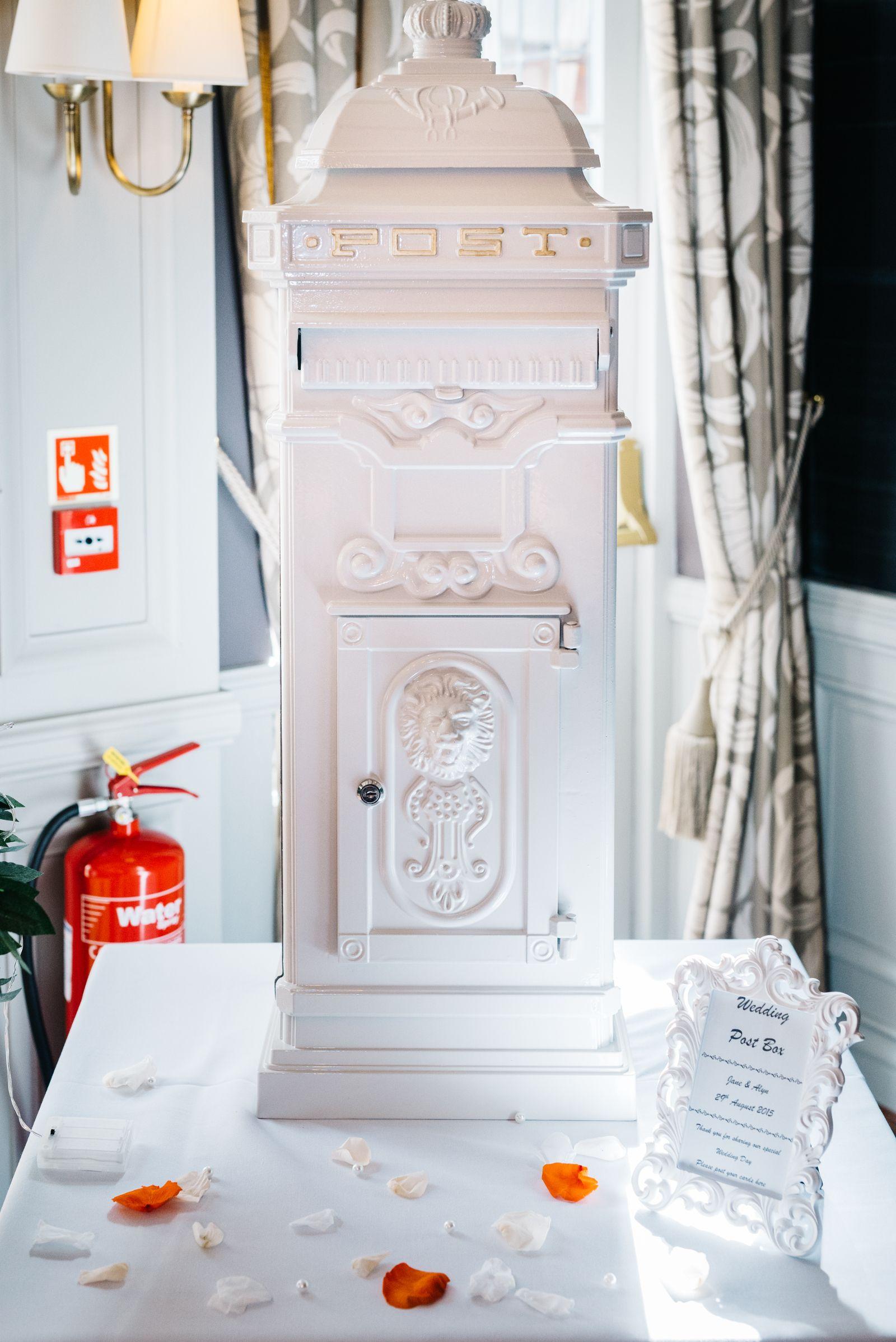 The Wedding Cabinet - Hire Vintage Victorian Whirte Lockable Post Box