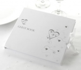 white & silver heart guest book