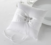 white butterfly ring cushion