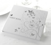 white & silver butterfly guest book
