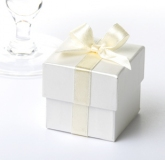 favour box with ribbon ivory & cream