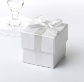 favour box with ribbon white & silver