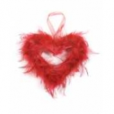 small feather hanging heart red