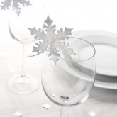 Silver Snowflake Place Cards for Glass