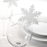 White Snowflake Place Cards for Glass