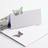 white&silver butterfly lace placecards