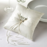 Ivory Satin Butterfly Ring Cushion