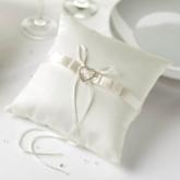 Ivory Satin Heart Ring Cushion